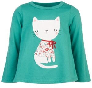 First Impressions Baby Girls Long-Sleeve Holiday Cat Cotton T-Shirt, Created for Macy's