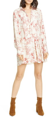 Frame Toile Drop Waist Long Sleeve Silk Minidress