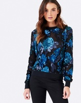Forever New Hazel Sequin Floral Sweat