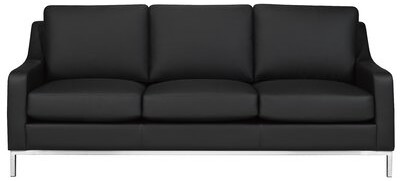 """Thumbnail for your product : Rosdorf Park Kase 79"""" Genuine Leather Recessed Arm Sofa Upholstery Color: Black Genuine Leather"""