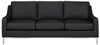 "Rosdorf Park Kase 79"" Wide Genuine Leather Recessed Arm Sofa Upholstery Color: Black Genuine Leather"
