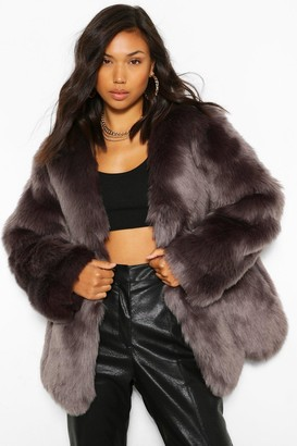 boohoo Luxe Panelled Faux Fur Coat