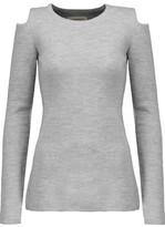 Current/Elliott Cold-Shoulder Marled Wool-Blend Sweater