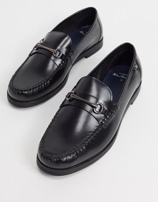 Ben Sherman metal bar leather loafers in black