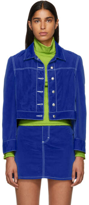 Eckhaus Latta Blue Cropped Jacket