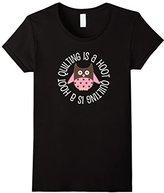 Women's Quilting T-shirt Cute Owl Quilter Sewing Crafter Tee Medium