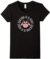 Women's Quilting T-shirt Cute Owl Quilter Sewing Crafter Tee XL
