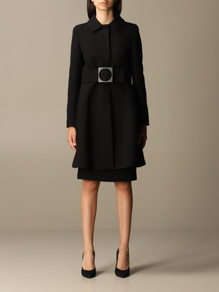 Emporio Armani Coat In Virgin Wool Blend With Belt