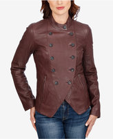 Lucky Brand Leather Double-Breasted Jacket