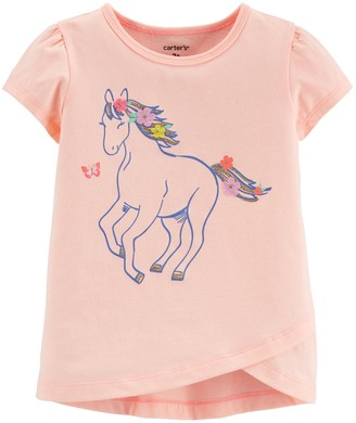 Carter's Toddler Girl Glitter Horse Tulip Jersey Tee