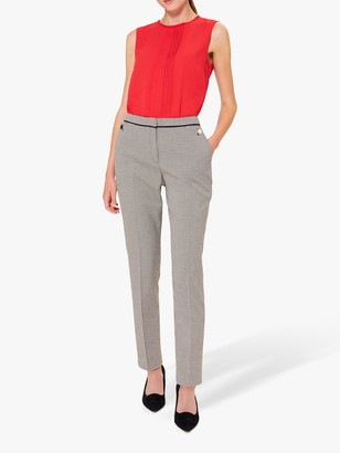 Hobbs Petite Sienna Dogtooth Check Trousers, Ivory/Black