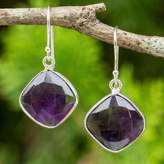 Handcrafted Sterling Silver and Faceted Amethyst Earrings, 'Lavender Breeze'