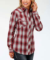 Roper Red & Black Plaid Button-Up