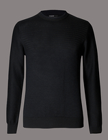 Autograph Merino Wool Blend Textured Slim Fit Jumper