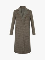 Gerard Darel Preston Check Wool Coat, Dark Brown