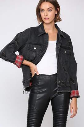 Fate Distresed Black Jean Jacket