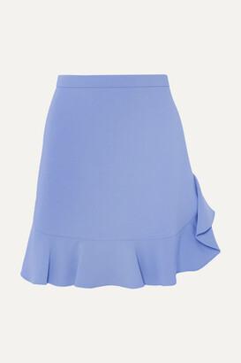 Miu Miu Ruffled Crepe Mini Skirt - Blue