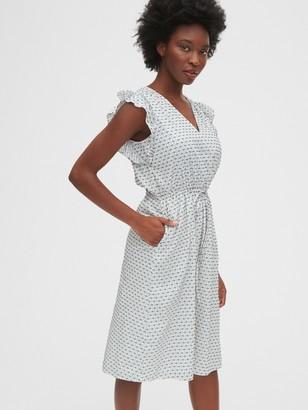 Gap Ruffle Sleeve Midi Dress