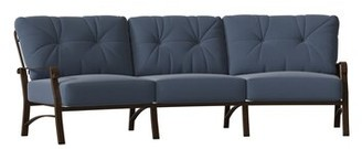 Woodard Cortland Crescent Patio Sofa Woodard Cushion Color: Spectrum Denim, Frame Color: Chestnut Brown