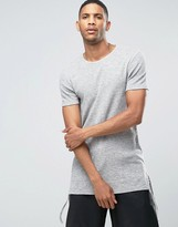 Asos Super Longline Muscle T-Shirt In Textured Waffle With Shaped Hem And Ties
