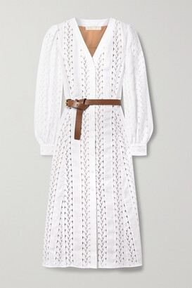 MICHAEL Michael Kors - Belted Hemp, Cotton And Guipure Lace Midi Dress - White