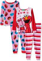 Sesame Street Toddler GirlsCotton 4-piece Pajama Set
