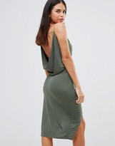 Club L Slinky Wrap Front Dress With Cowl Back