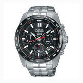 Pulsar Men'S Silver Tone Black Dial Solar Chronograph Bracelet Watch Pz5005