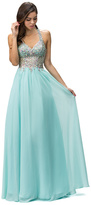 Dancing Queen - Floor Length Iridescent V-neck Chiffon Dress 8998