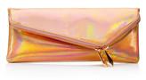 Henri Bendel Debutante Slim Asymmetric Metallic Clutch