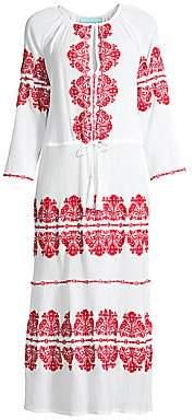 Melissa Odabash Women's Lela Embroidered Cotton Gauze Caftan
