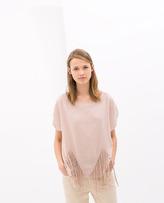 Zara Fringe Hem T-Shirt