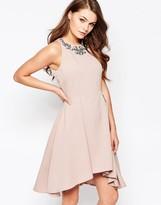 Little Mistress Structured Skater Dress With Embellished Neck