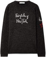 Bella Freud Kate Moss Fairytale Of New York Embroidered Metallic Wool-blend Sweater - Black
