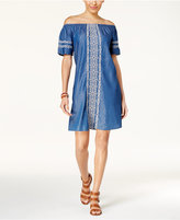 Style&Co. Style & Co Off-The-Shoulder Denim Embroidered Dress, Created for Macy's