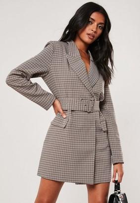 Missguided Brown Plaid Buckle Blazer Dress