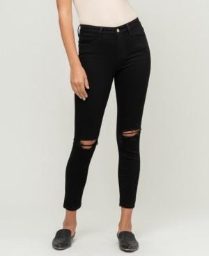 VERVET Women's Mid Rise Knee Distressed Crop Skinny Jeans
