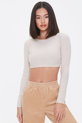 Forever 21 Ribbed Long-Sleeve Crop Top