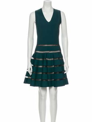 Alaia V-Neck Mini Dress Green