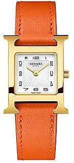 HERMÃS Women's Heure H 23MM Goldplated & Leather Strap Watch