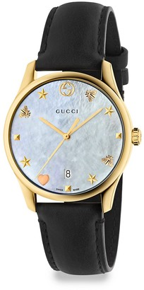 Gucci G-Timeless Crystal & Leather Strap Analog Watch