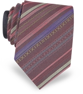 Missoni Burgundy Diagonal Stripe Woven Silk Narrow Tie