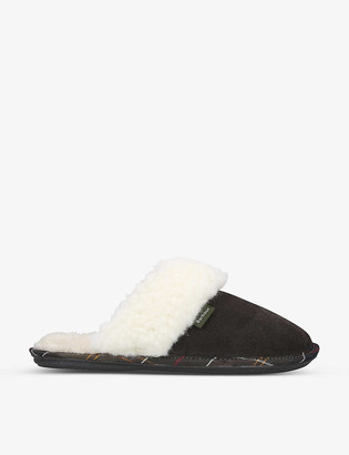 Barbour Lydia faux-fur and cotton-blend slippers