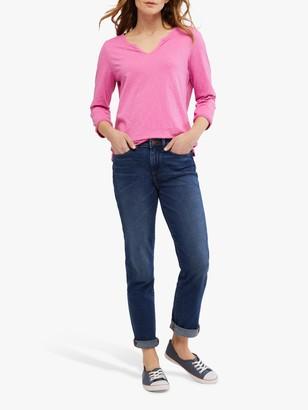 White Stuff Daisy Three Quarter Length Sleeve Cotton T-Shirt, Hot Pink