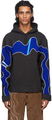 Ahluwalia Black and Blue Striped Hoodie