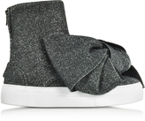 Joshua Sanders Black Lurex Bow Slip on Sneakers