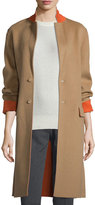Joseph Double-Face Wool-Blend Coat, Camel/Tangerine