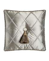 "Dian Austin Couture Home Silk Diamond Pillow with Tassel, 18""Sq."