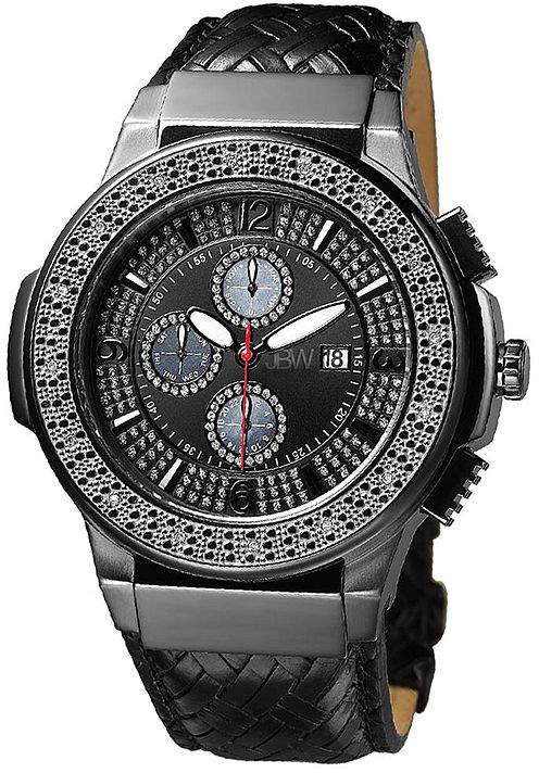 JBW Saxon Mens 1/6 CT. T.W. Diamond Black Leather Strap Watch JB-6101L-I