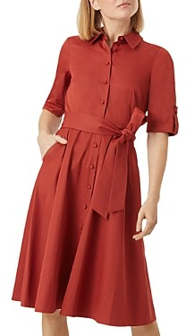 Hobbs London Tyra Belted Sateen Shirtdress - 100% Exclusive